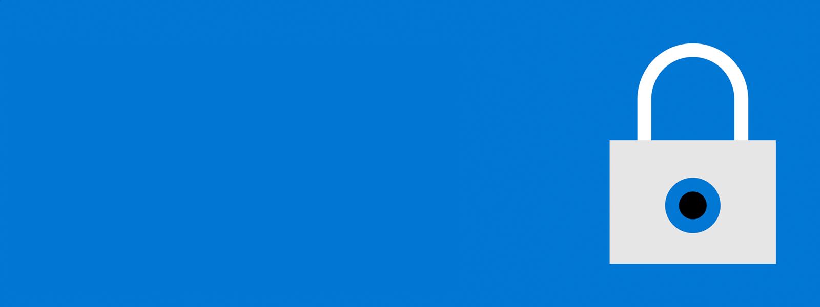Imagem azul com um cadeado desenhado a direita